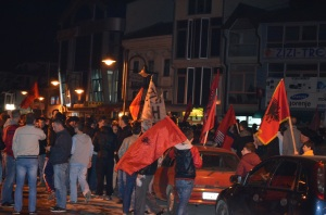 PDSH supporters celebrate Ziadin Sela's advantage for Mayor of Struga.Photo by Angelina Tala_StrugaNews