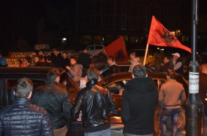 PDSH supporters celebrate Ziadin Sela's advantage for Mayor of Struga.Photo by Hylja Shirka_StrugaNews
